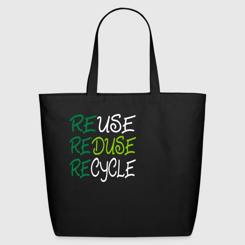 Black ReUse, Reduse, Recycle Bags  - Eco-Friendly Cotton Tote