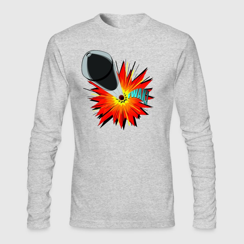Gunshot, 3D comicbook, bullet hole, chest t-shirt - Men's Long Sleeve T-Shirt by Next Level