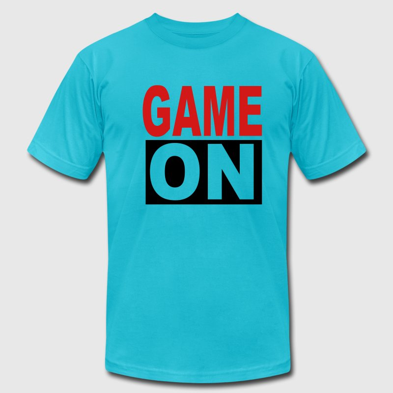 Turquoise Game on T-Shirts - Men's T-Shirt by American Apparel