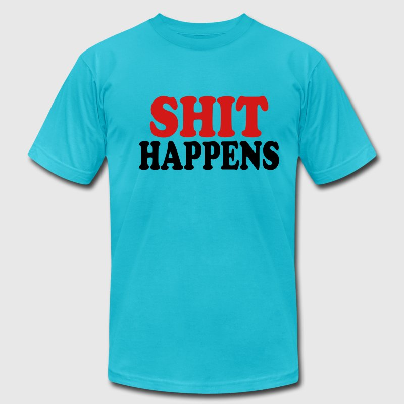 Gold Shit happens T-Shirts - Men's Fine Jersey T-Shirt