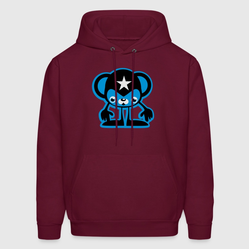 Burgundy Cool Monkey 3C Hoodies - Men's Hoodie