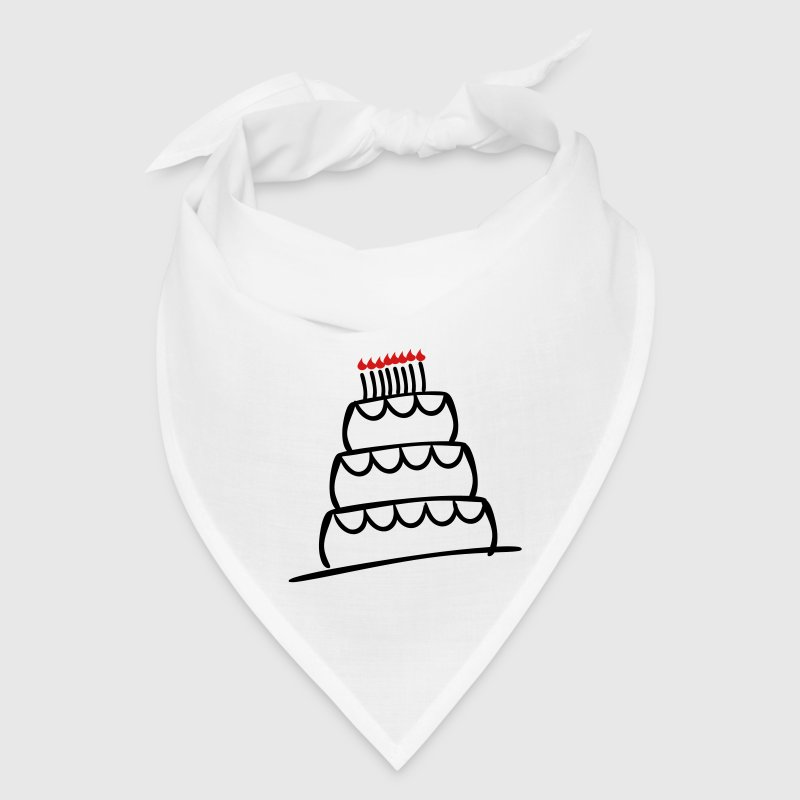 White Funky 3-Layer Birthday Cake With Candles And Flames  Caps - Bandana