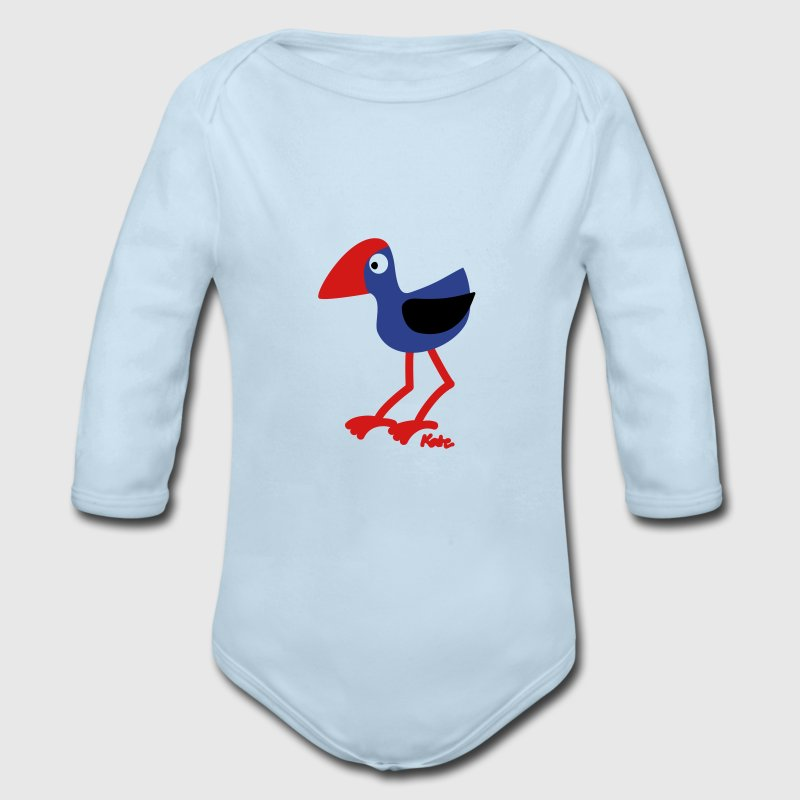 Powder blue pukeko Baby Body - Long Sleeve Baby Bodysuit