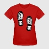 Red boot footprints Women's T-Shirts - Women's T-Shirt