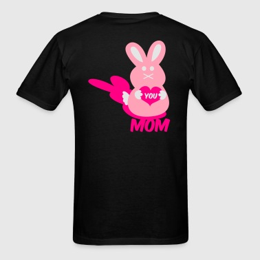 Powder blue love you mom bunny lover rabbit cute with love heart Long Sleeve Shirts - Men's T-Shirt