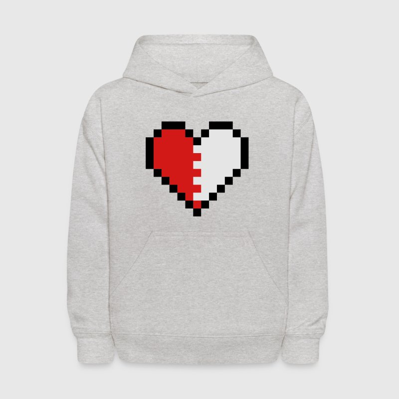 Heather grey Pixel Heart Broken Sweatshirts - Kids' Hoodie