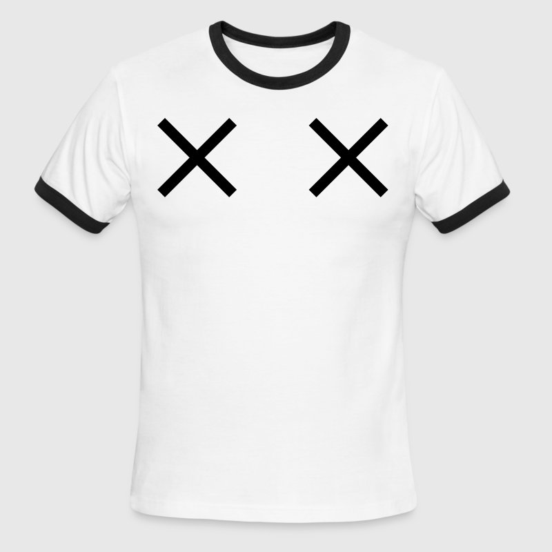 Sky/navy two crosses dead cartoon eyes T-Shirts - Men's Ringer T-Shirt