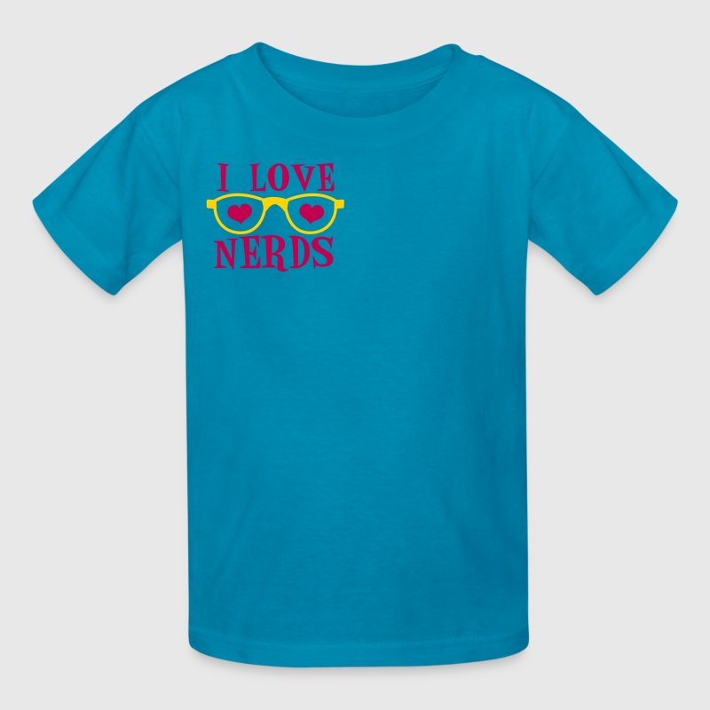 Turquoise LOVE glasses i love nerds Kids' Shirts - Kids' T-Shirt