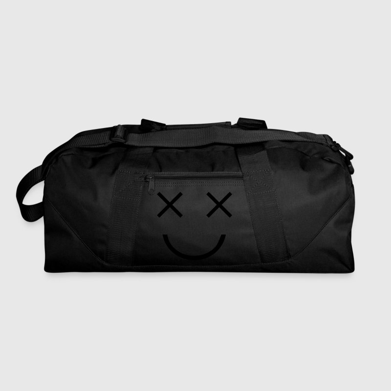 Dark red  FUNNY FACE two crosses dead cartoon eyes with smile Bags  - Duffel Bag