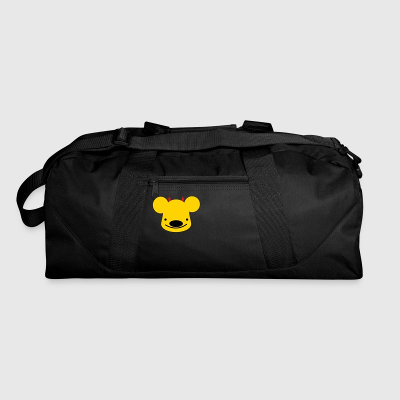 Black teddy bear shape with cute little devil horns Bags  - Duffel Bag