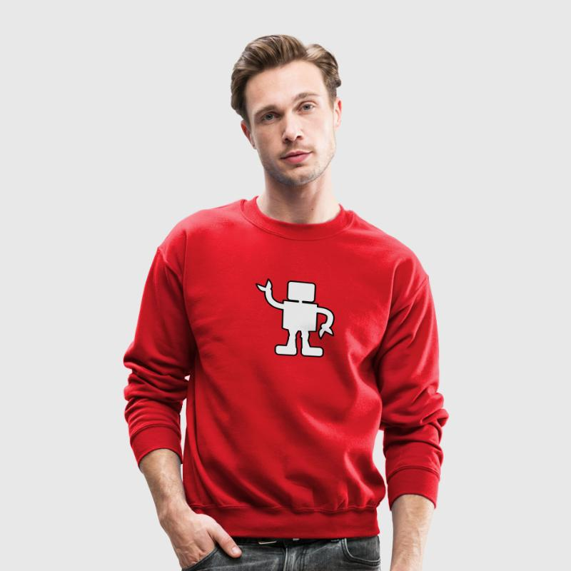 Red robot outline two color sabotage Long Sleeve Shirts - Crewneck Sweatshirt