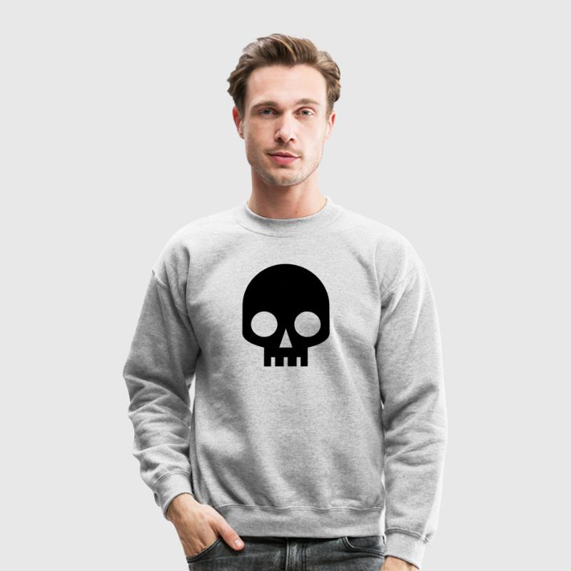 Heather grey COOL SQUARE SKULL SHAPE PIRATE Long Sleeve Shirts - Crewneck Sweatshirt