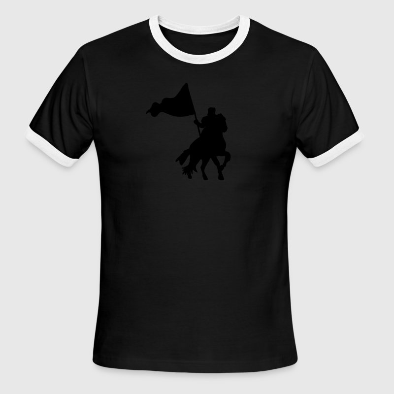 Sky/navy MEDIEVAL FESTIVAL knight on a horse with a flag  T-Shirts - Men's Ringer T-Shirt