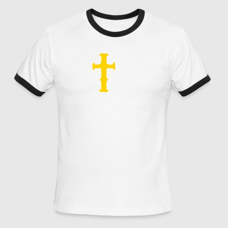 Chocolate/tan rough cool rock gothic cross metal T-Shirts - Men's Ringer T-Shirt