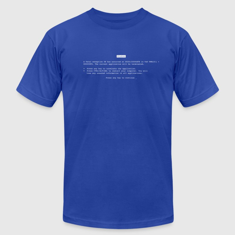 Royal blue Blue Screen of Death (BSOD) T-Shirts - Men's T-Shirt by American Apparel