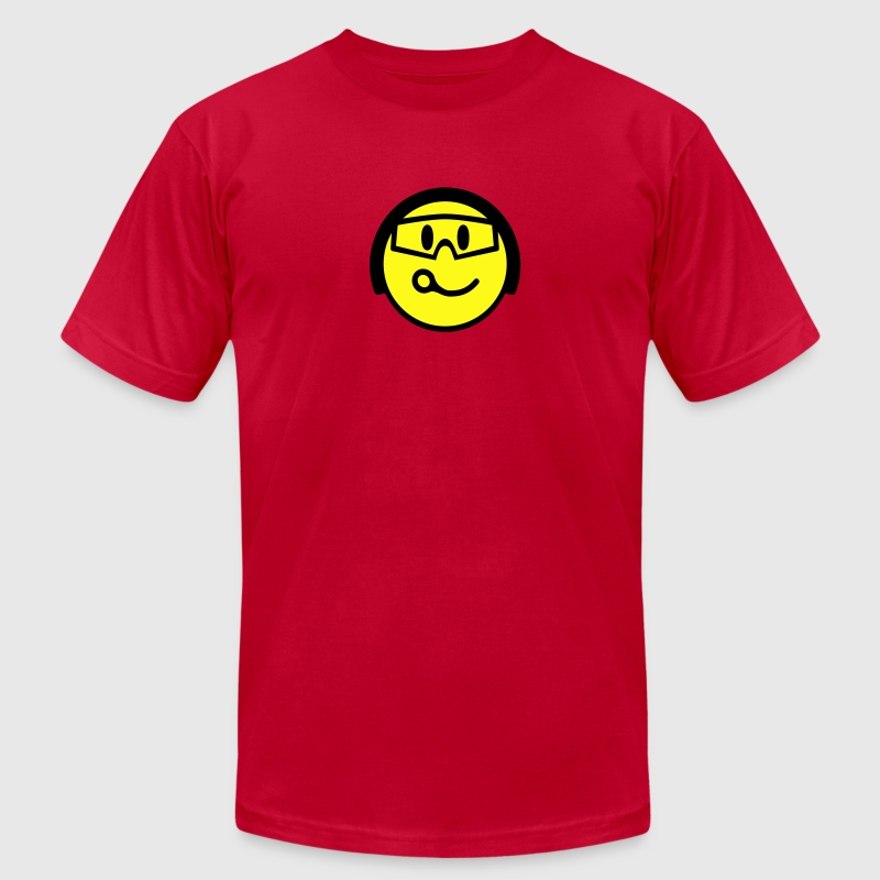 Red Smiling Face With Helmet And Goggles T-Shirts - Men's T-Shirt by American Apparel