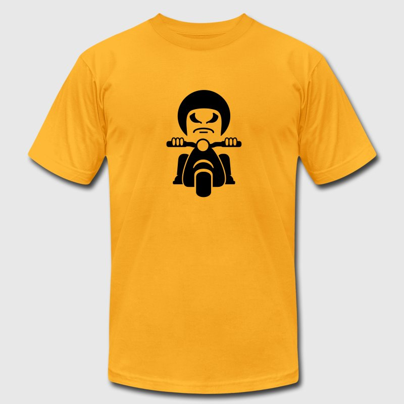 Gold bad dude - Rocker on a vespa (1c) T-Shirts - Men's T-Shirt by American Apparel