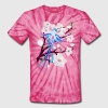 Blue Hummingbird and Cherry Blossoms - Unisex Tie Dye T-Shirt