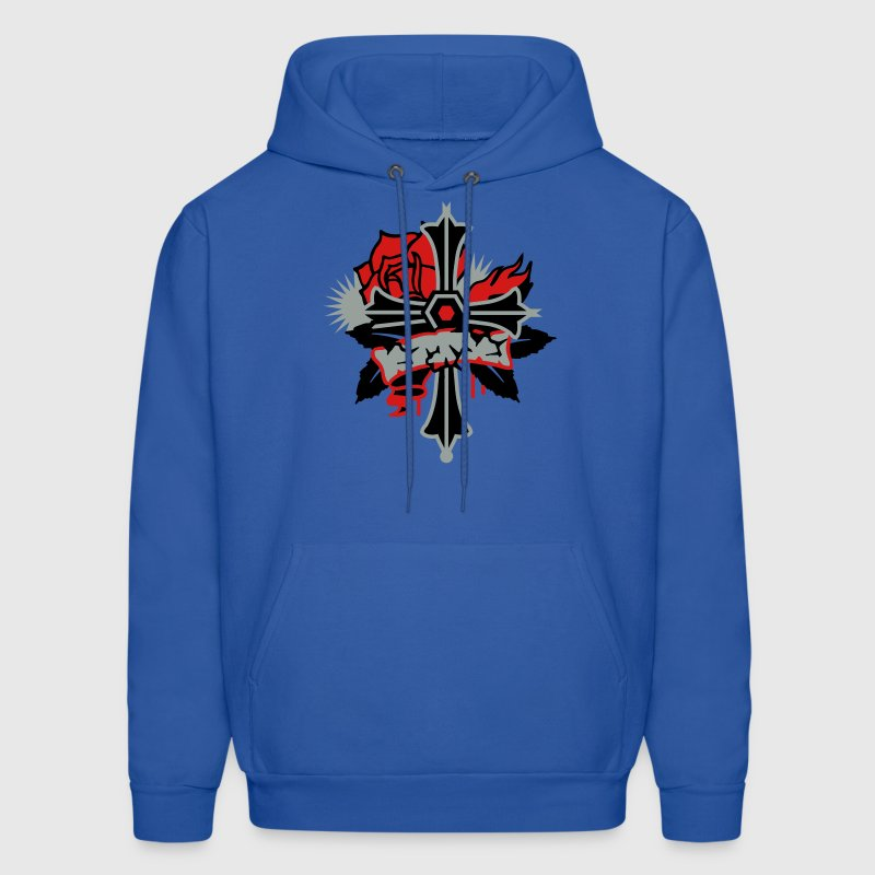 Royal blue Rosicrucian Cross with Rose and thorns Hoodies - Men's Hoodie