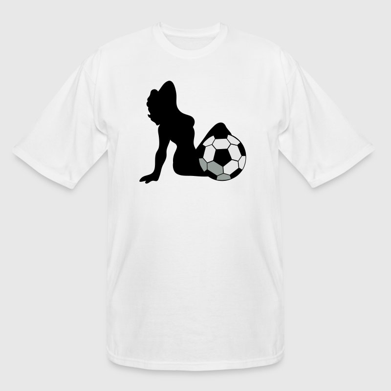 White SEXY SOCCER WOMAN with ball between her legs T-Shirts - Men's Tall T-Shirt