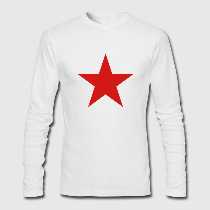 White Communist Red Star (1c) Long Sleeve Shirts - Men's Long Sleeve T-Shirt by Next Level