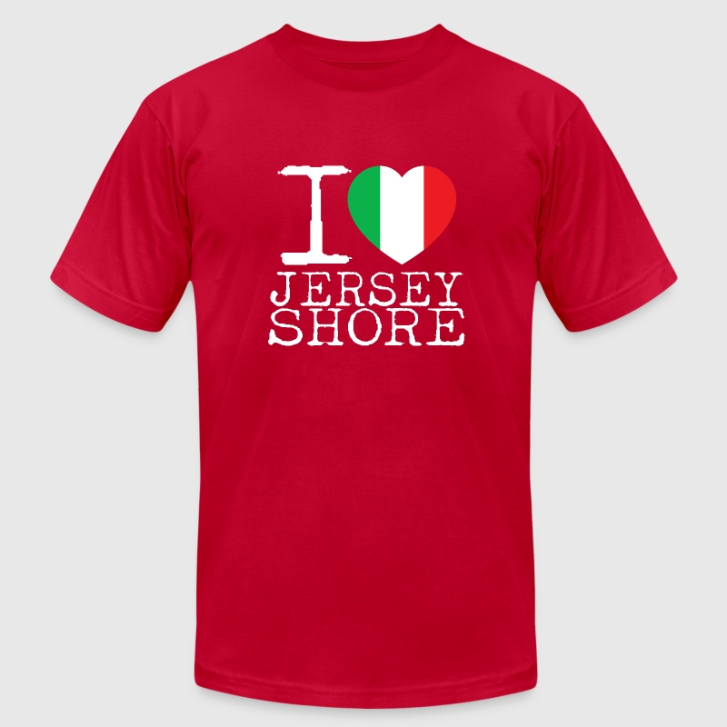 I Love Jersey Shore Italian Flag T-Shirts - Men's T-Shirt by American Apparel