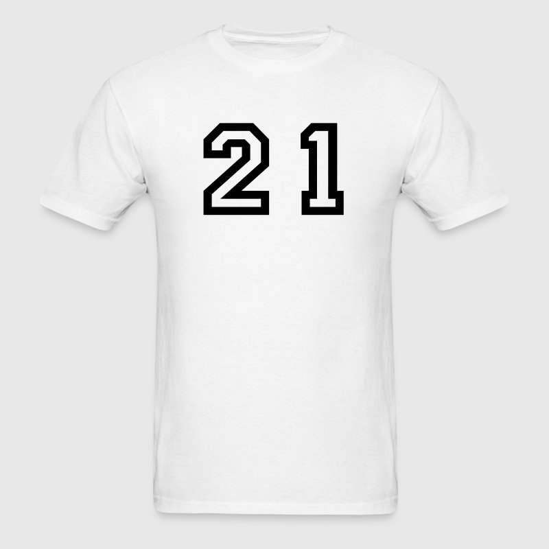 White Number - 21 - Twenty One T-Shirts - Men's T-Shirt