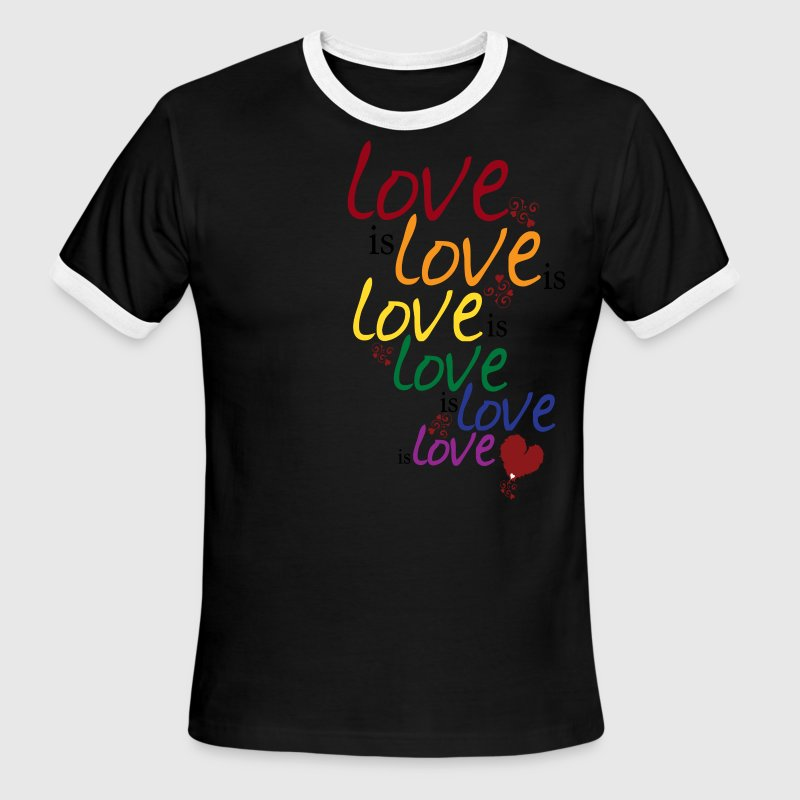 Sky/navy Love is love (Gay Marriage) T-Shirts - Men's Ringer T-Shirt