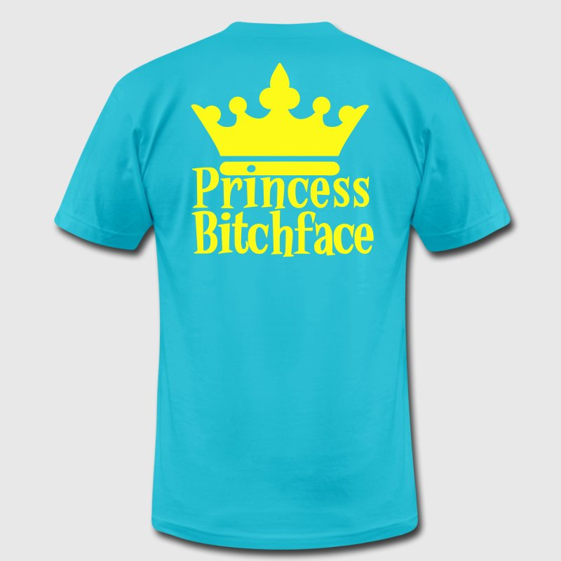 Turquoise PRINCESS BITCHFACE with royal crown T-Shirts - Men's T-Shirt by American Apparel