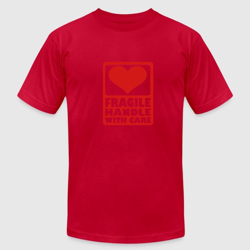 Orange Fragile Handle with care T-Shirts - Men's T-Shirt by American Apparel