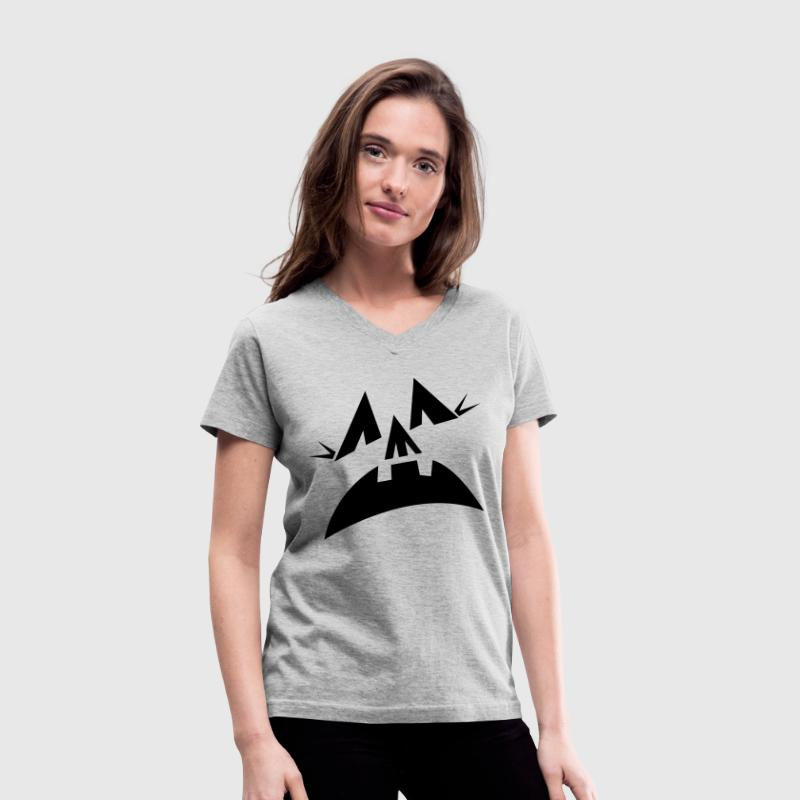 Gray Halloween scary pumpkins face scream Women's T-Shirts - Women's V-Neck T-Shirt