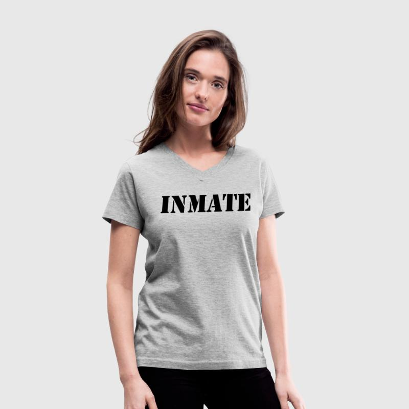 Gray INMATE prisoner in stencil Women's T-Shirts - Women's V-Neck T-Shirt