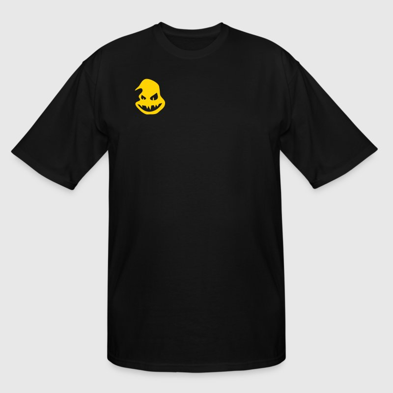 Black Halloween ghost pumpkin scary face smiling with teeth T-Shirts - Men's Tall T-Shirt
