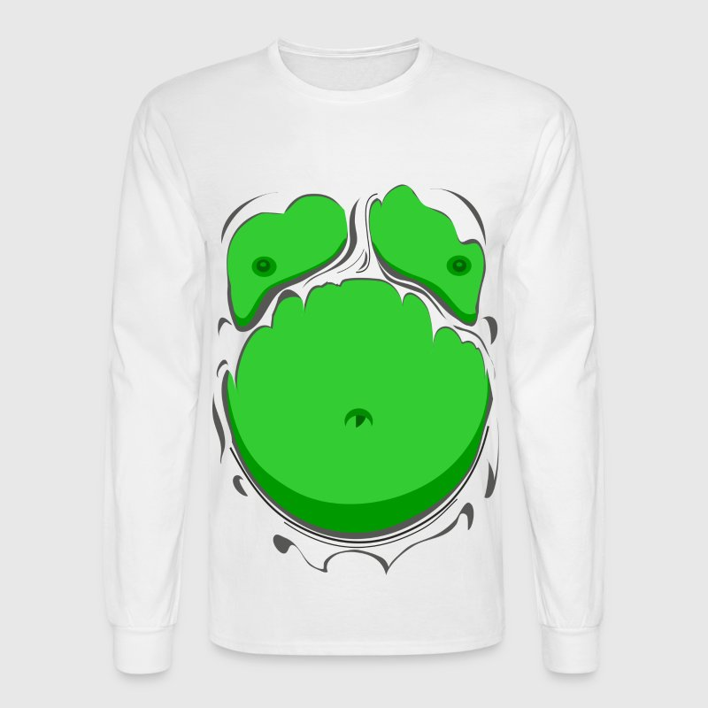 Comic Fat Belly Green, beer gut, beer belly, chest - Men's Long Sleeve T-Shirt