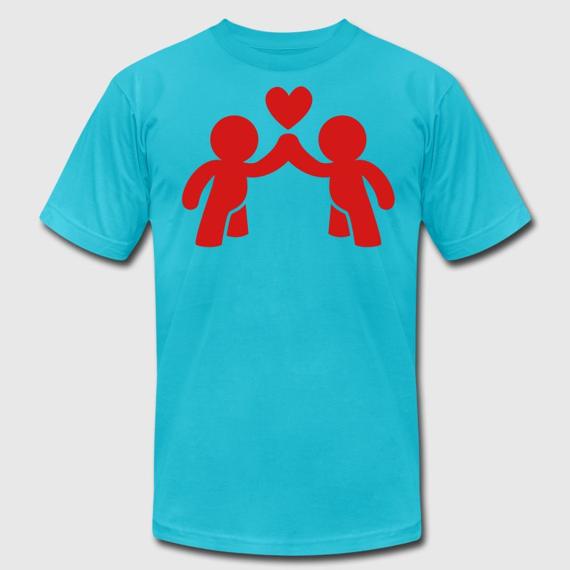 CUTE LOVE gay COUPLE T-Shirts - Men's T-Shirt by American Apparel