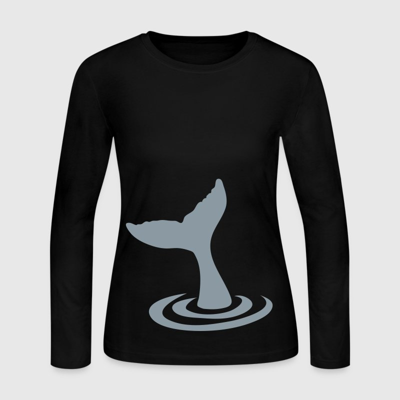 whale tail diving into the water Long Sleeve Shirts - Women's Long Sleeve Jersey T-Shirt