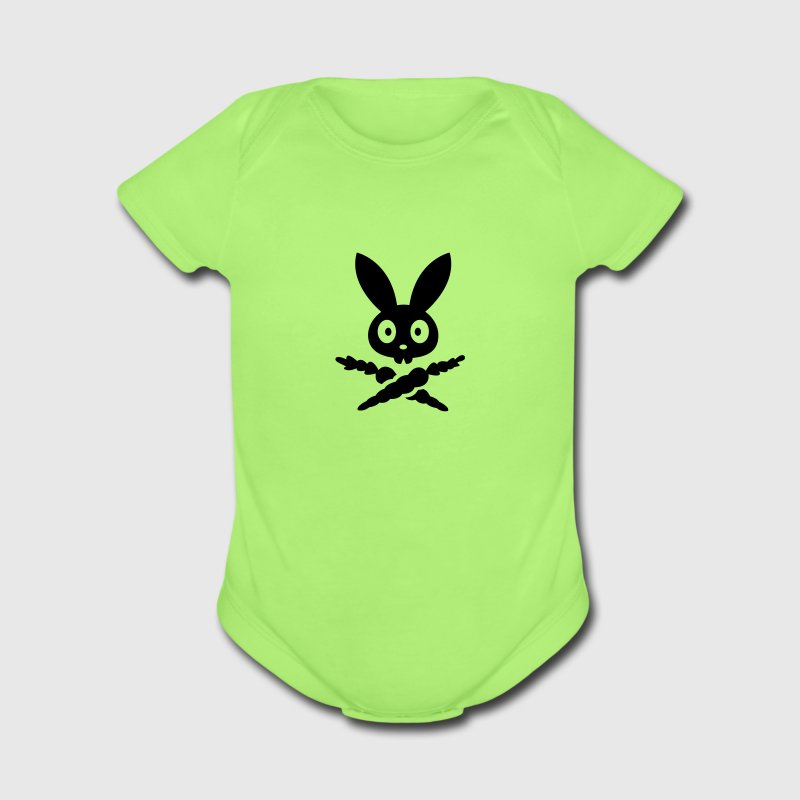 Skull emblem sign logo badge bunny rabbit bone carrot Tot Skully Baby Bodysuits - Short Sleeve Baby Bodysuit
