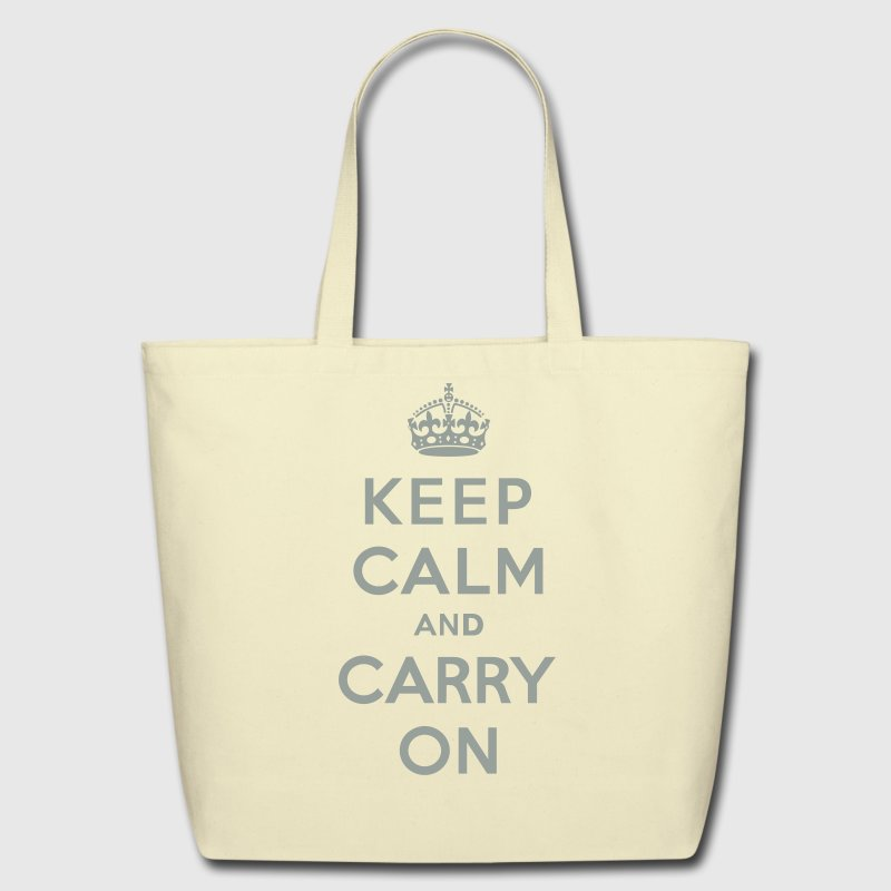 Keep Calm and Carry On (vector) Bags  - Eco-Friendly Cotton Tote