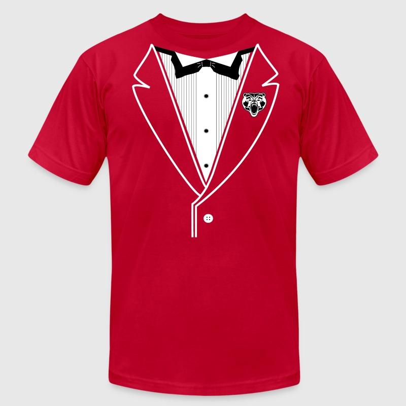 Bear tuxedo white lines t shirt spreadshirt for Make your own tuxedo t shirt
