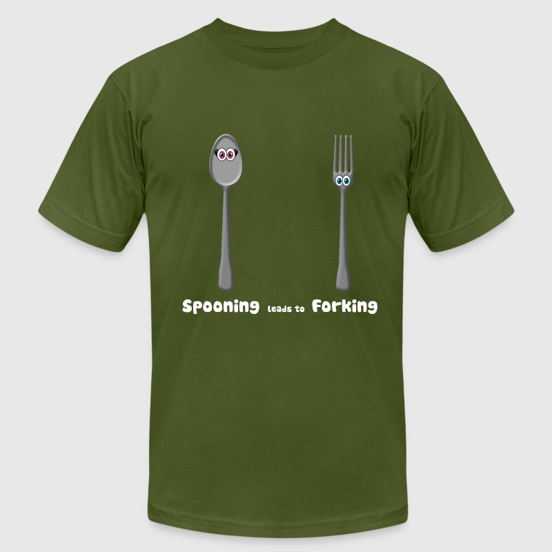 Spooning leads to Forking T-Shirts - Men's T-Shirt by American Apparel