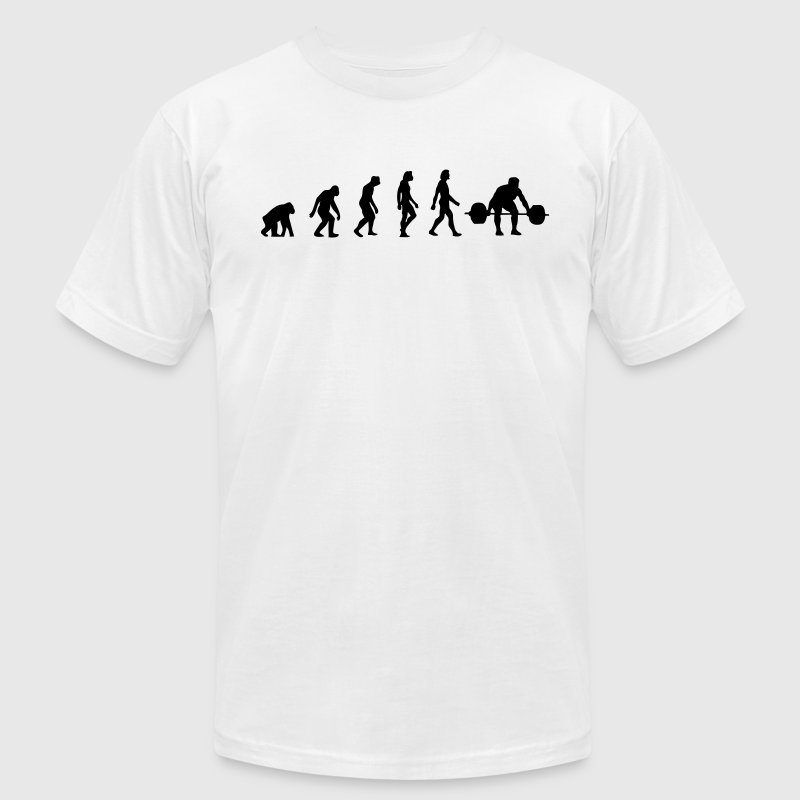 Weight Lifting Evolution (1c) T-Shirts - Men's T-Shirt by American Apparel