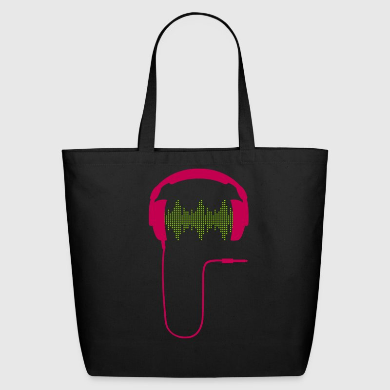 dj headphones frequency music beat sound techno hip hop dance electronic pop club turntable record Bags  - Eco-Friendly Cotton Tote