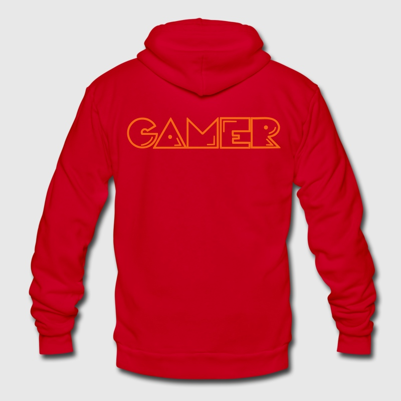 player 1 gamer two Zip Hoodies/Jackets - Unisex Fleece Zip Hoodie by American Apparel