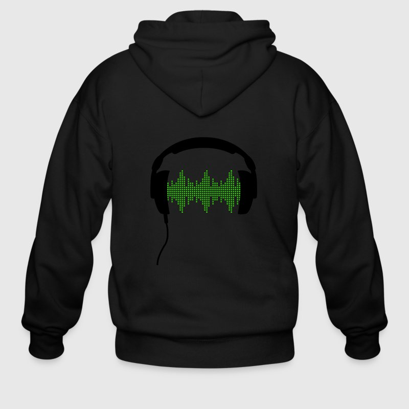 Headphones with Frequency-Equalizer DJ Music Sound Beat Pop  Zip Hoodies/Jackets - Men's Zip Hoodie