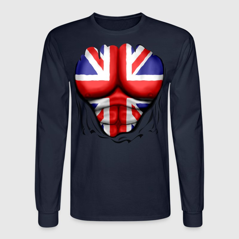 UK Flag Ripped Muscles, six pack, chest t-shirt - Men's Long Sleeve T-Shirt