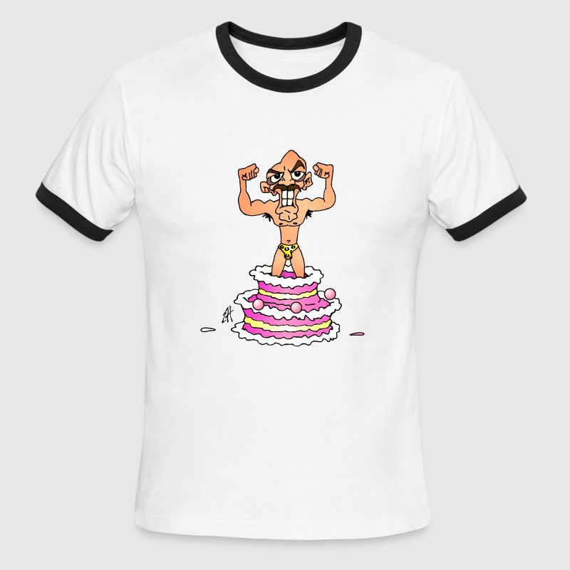 White/black His birthday cake surprise... Men - Men's Ringer T-Shirt