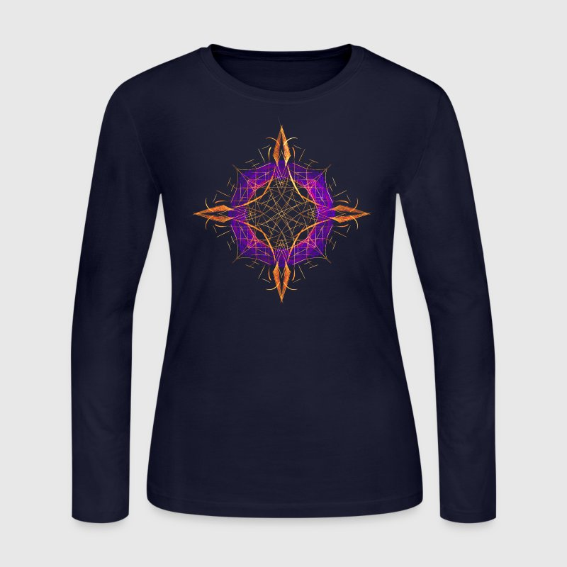 Fractal Compass Geometric Art Long Sleeve Shirts - Women's Long Sleeve Jersey T-Shirt