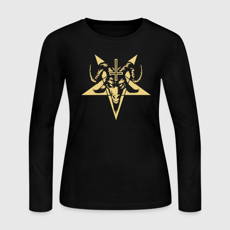 Satanic Goat Head with Pentagram (inverted) Long Sleeve Shirts - Women's Long Sleeve Jersey T-Shirt