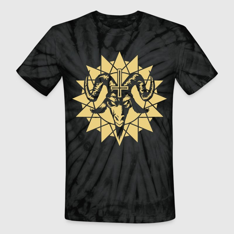 Satanic Goat Head with Chaos Star (inverted) T-Shirts - Unisex Tie Dye T-Shirt