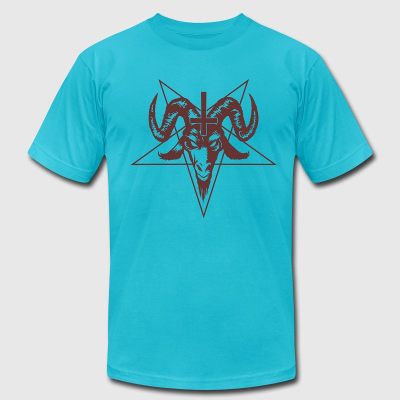 Satanic Goat Head with Pentagram T-Shirts - Men's T-Shirt by American Apparel